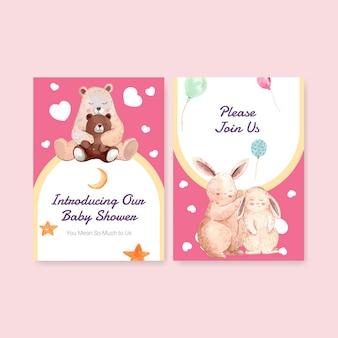 Einladungskartenschablone mit aquarellvektorillustration des babypartyentwurfskonzepts.