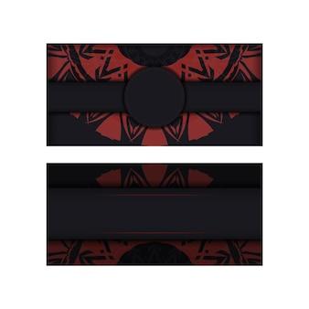 Einladungskartenschablone mit platz für ihren text und abstrakte verzierung. luxuriöses vektordesign der postkarte in schwarzer farbe mit roter griechischer verzierung.