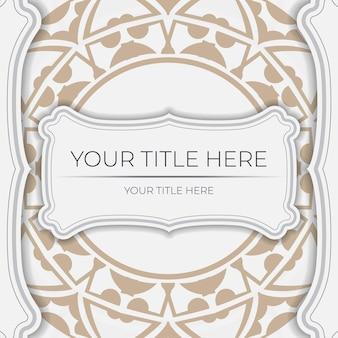 Einladungskartenschablone mit platz für ihren text und abstrakte verzierung. luxuriöses vektordesign der postkarte in weißer farbe mit beigen ornamenten.