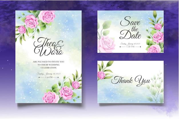Einladungskartenset mit schönen rosen