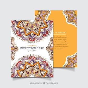 Einladungskartenvorlage mit fantastischem mandala