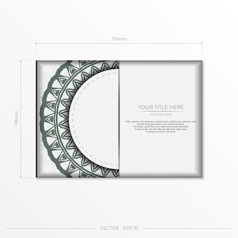 Einladungskartenvorlage mit platz für ihren text und vintage-ornamente. luxuriöses vektordesign für postkarten in weißer farbe mit dunklen griechischen ornamenten.