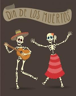 Einladungsplakat zum tag der toten. dia de los muertos party. das skelett spielt gitarre und tanzt.