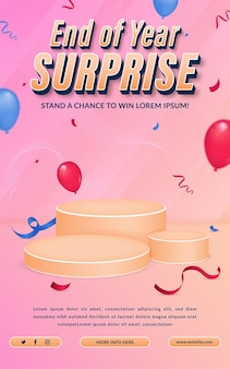 Einladungsplakatvorlage für überraschungswettbewerb zum jahresende