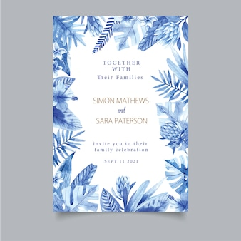 Einladungsschablone mit tropischen aquarellblättern und tropischen blumen. dschungel, tropen, sanftes aquarell