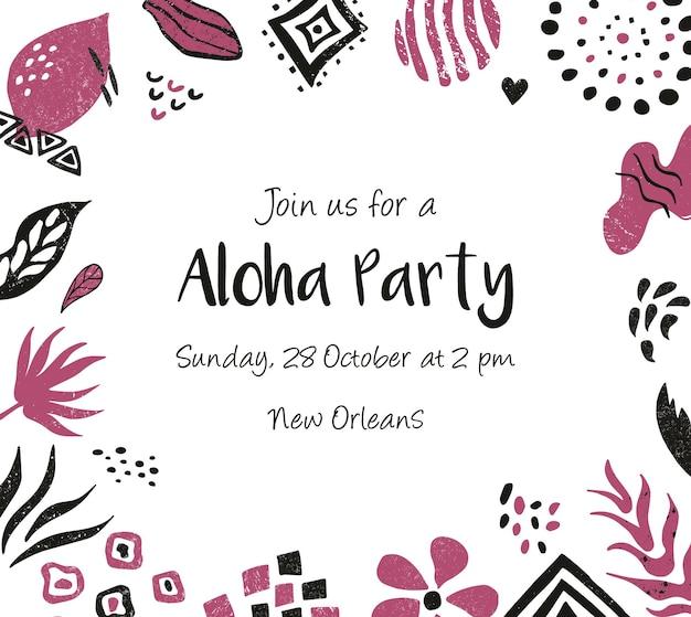 Einladungsvorlage, banner, grußkarte mit floralen und ethnischen elementen. für babyparty, geburtstagsfeier, party