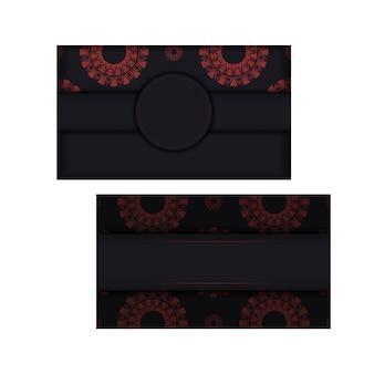 Einladungsvorlage mit platz für ihren text und abstrakte muster. luxuriöses vektordesign der postkarte in schwarzer farbe mit roten griechischen mustern.