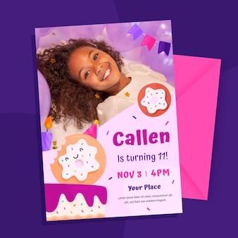 Einladungsvorlage zum kindergeburtstag mit foto