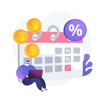 Einlagenzinsen, rentable anlage, festverzinsliche wertpapiere. regelmäßige zahlungen, wiederkehrende geldeingänge. geldempfänger mit kalenderzeichentrickfigur. vektor isolierte konzeptmetapherillustration.
