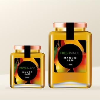 Einmachglas oder marmeladenflasche metallic-schraubverschluss glasflaschenverpackung mit mango-illustration