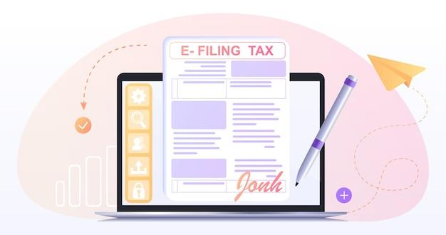 Einreichung und zahlung der einkommensteuer mit online-formularendigitale steuererklärung mit eform-steuerrechnungs-app