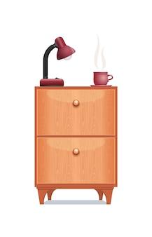 Einrichtungsgegenstand nachttisch mit einer tischlampe und einer tasse kaffee. möbelstück aus holz nachttisch isoliert auf weißem hintergrund. vektor-illustration