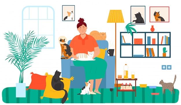 Einsame alte dame umarmt katzen, glück und haustiere tierillustration. kätzchen und kätzchen zu hause im wohnzimmer. comic katzenliebhaber.