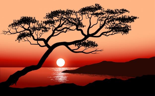 Einsame baumschattenbild bei sonnenuntergang mit meer