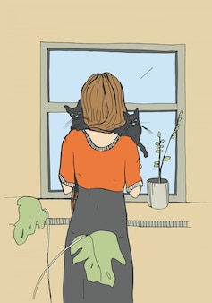 Einsame frau in der nähe des fensters mit katzen. vektor hand gezeichnete illustration.