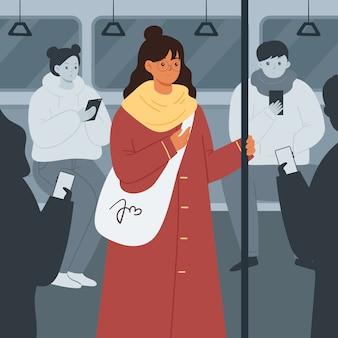 Einsame frau in einer menschenmenge in der u-bahn. menschen im öffentlichen verkehr. flache artillustration.