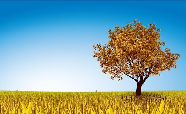 Einsamer herbstbaum auf feld