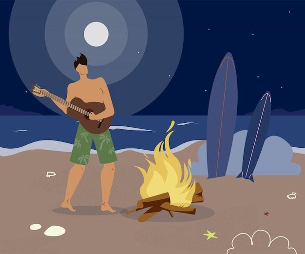 Einsamer kerl auf seeküsten-flacher vektor-illustration