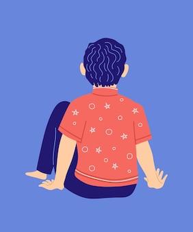 Einsamer kleiner junge kind mit autismus-syndrom teenager junge sitzt auf seinem rücken