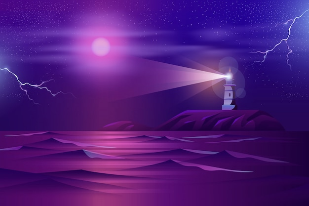 Einsamer leuchtturm auf felsiger klippenkarikatur