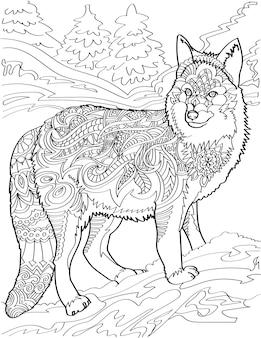 Einsamer wolf, der seitlich mit farblosem strichzeichnungsfuchs des waldhintergrundes schaut, steht seitlich