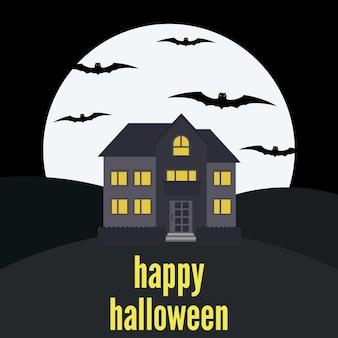 Einsames haus auf dem hintergrund des mondes und der aufschrift happy halloween. vektor-illustration
