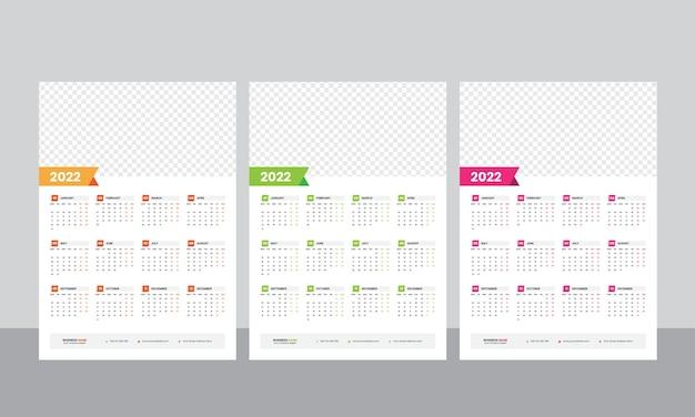 Einseitige wandkalender 2022 vorlage Premium Vektoren