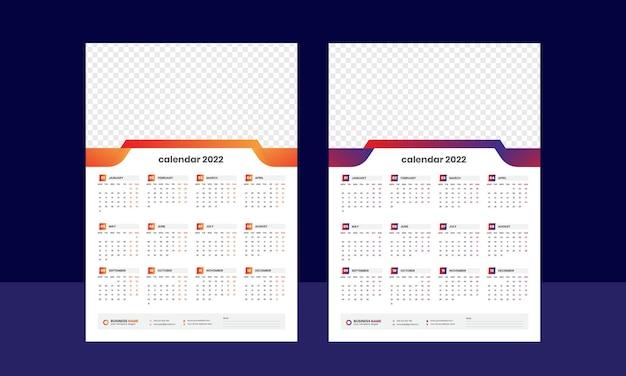 Einseitige wandkalender 2022 vorlage