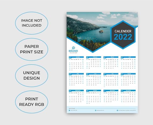 Einseitige wandkalendervorlage