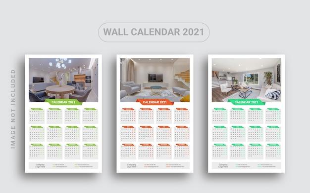 Einseitiger wandkalender 2021