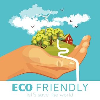 Einsparung des umweltplakats