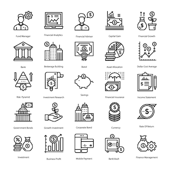 Einsparungen und investitionen icons pack