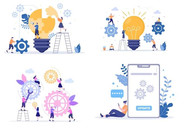 Einstellung flacher design-illustration