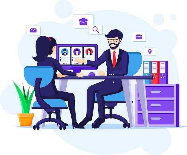 Einstellungs - und rekrutierungskonzept, eine frau, die am schreibtisch mit einem geschäftsanzug in einer illustration des vorstellungsgesprächs sitzt
