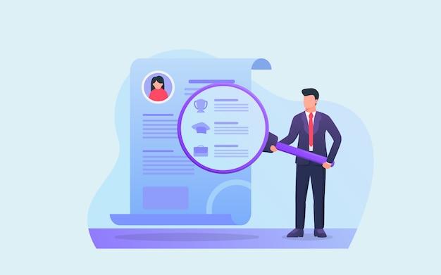 Einstellungskonzept mit personen analysieren lebenslaufberichtzusammenfassung auf papierdokument