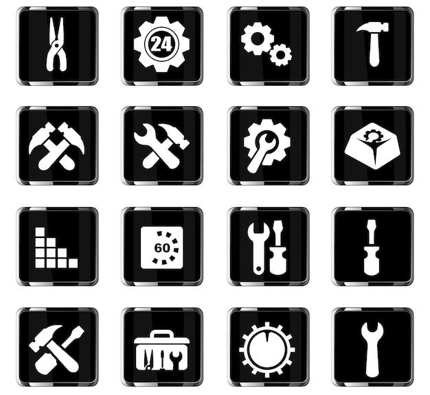 Einstellungsvektorsymbole für das design der benutzeroberfläche