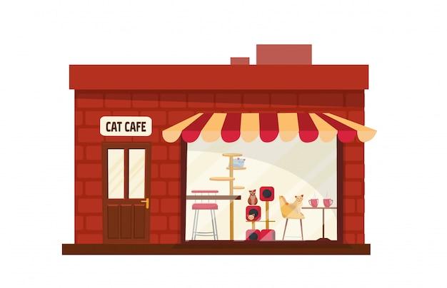 Einstöckiges gebäude-katzencafé draußen. haus mit großem schaufenster mit gestreifter markise.