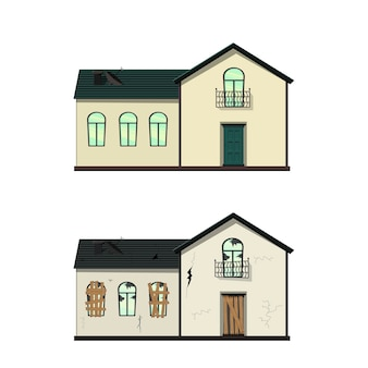 Einstöckiges haus vor und nach der reparatur. karikaturartillustration.