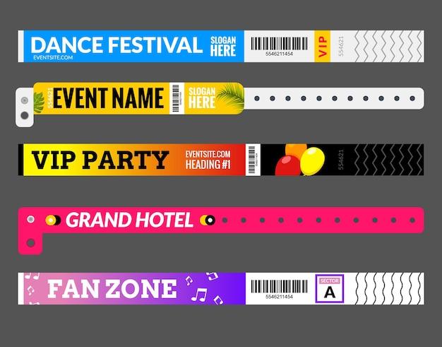 Eintrittsarmband beim festival der konzertveranstaltungszone. greifen sie auf das design der id-vorlage zu. auftritt im karnevals- oder tanzarmband-design.