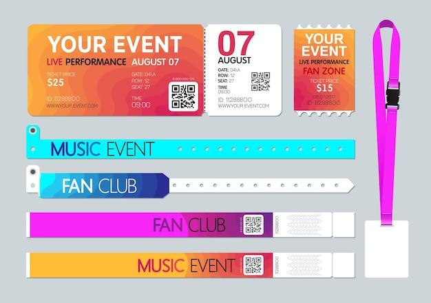 Eintrittskarte für die veranstaltung, ausweiskartenhalter und armbänder Premium Vektoren