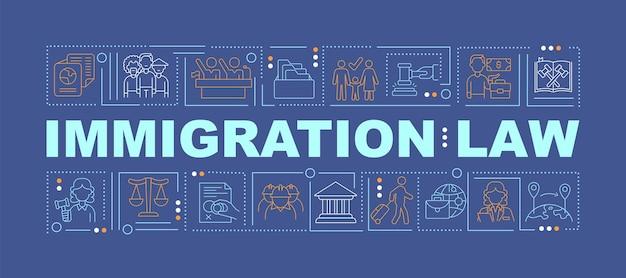 Einwanderungsgesetz dunkelblaue wortkonzepte banner. menschenrechte. infografiken mit linearen symbolen auf türkisfarbenem hintergrund. isolierte kreative typografie. vektorumriss-farbillustration mit text