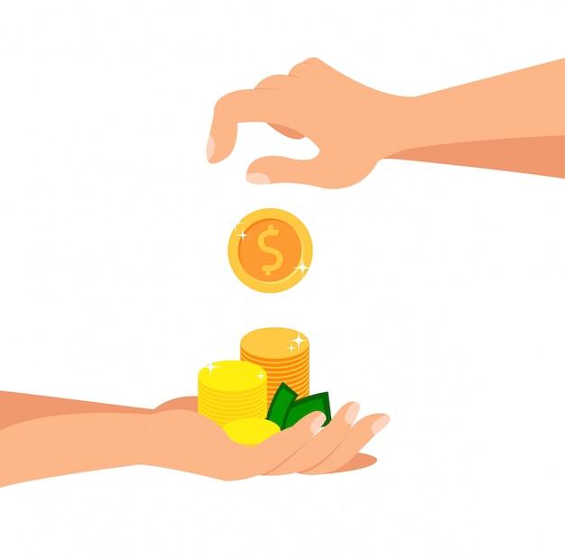 Einzahlungs-münzen-flache karikatur-vektor-illustration