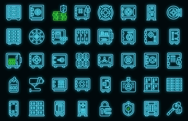 Einzahlungsraum-symbole gesetzt. umrisse von vektorsymbolen für depots in neonfarbe auf schwarz