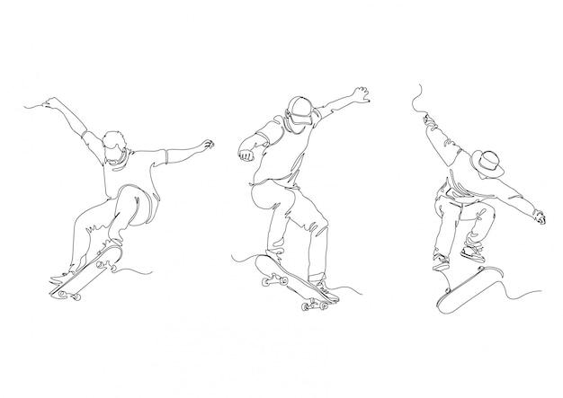 Einzeilige skate set logos lager illustration vektor