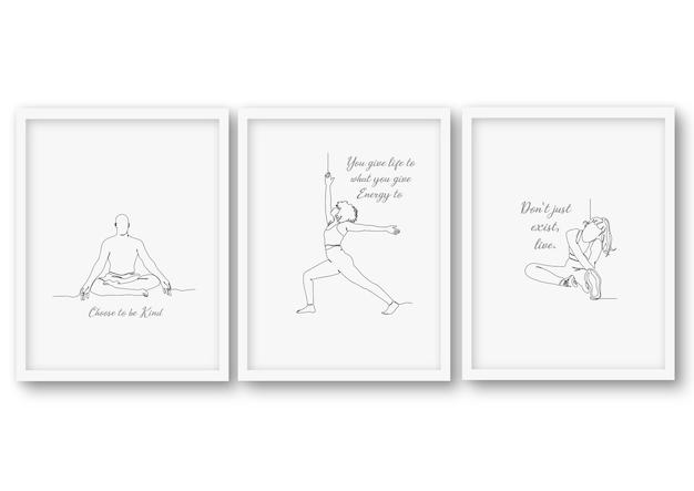 Einzeilige yoga pose set illustration