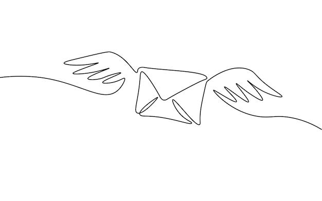 Einzeiliger papierumschlag. schwarzweiße monochrome durchgehende einzeilige kunst. e-mail-nachricht postbrief senden illustration skizze umrisszeichnung.