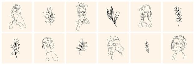 Einzeiliges frauenporträt und blätter im zeitgenössischen abstrakten stil. handgezeichnete illustration.