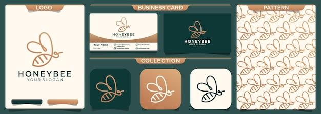 Einzeiliges logo-design der abstrakten biene