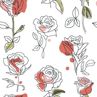 Einzeiliges nahtloses muster mit rosen und abstrakten flecken