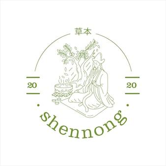 Einzeiliges shennong chinesisches kräutermedizinlogo für die apotheke Premium Vektoren